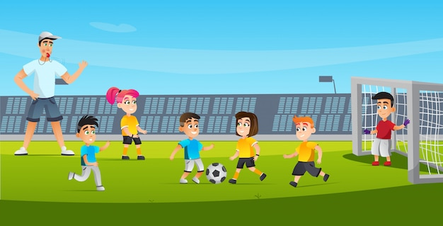 Cartoon kid play football referee blowing whistle Premium Vector