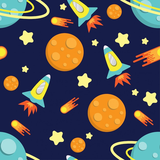 Cartoon kid rocket galaxy pattern seamless Premium Vector
