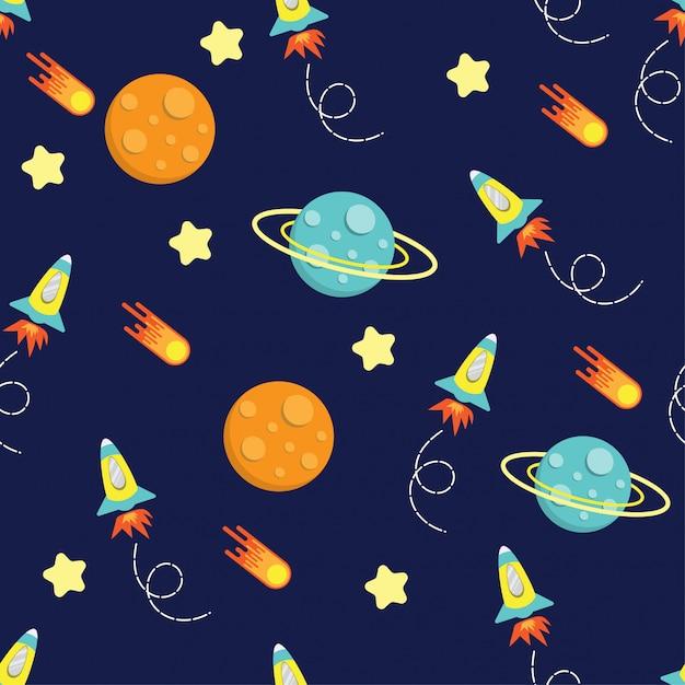 Cartoon kid rocket galaxy pattern seamless Premium Vector