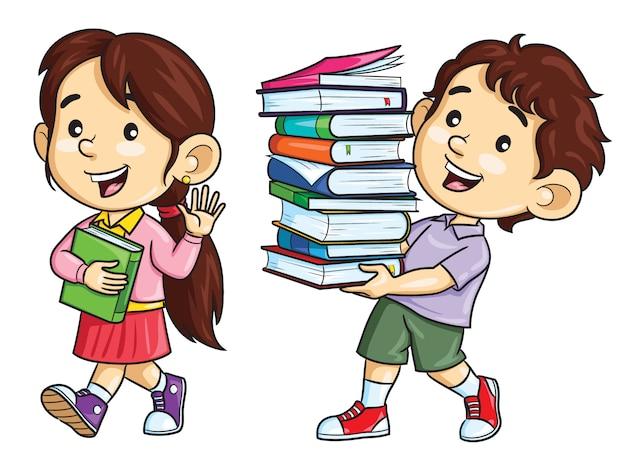 Мультяшные дети несут книги Premium векторы
