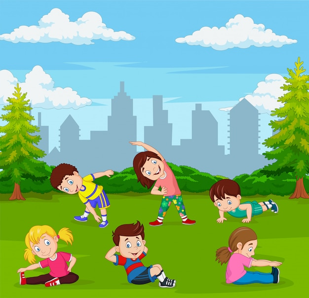 Cartoon Kids Doing Yoga In Green City Park Premium Vector
