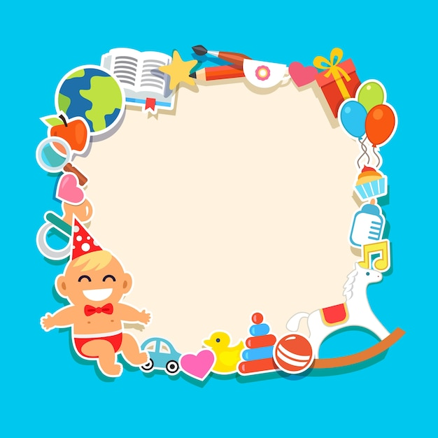 Cartoon kids frame Vector | Free Download