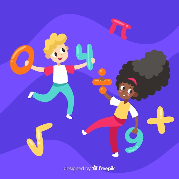 Cartoon kids math concept background Free Vector