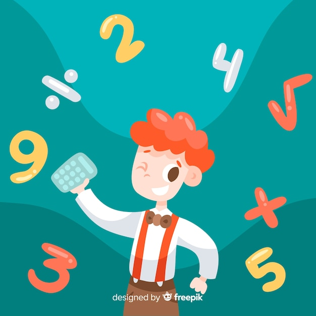 Cartoon kids math concept background Free Vector