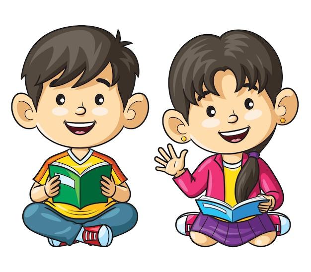 Мультфильм дети читают книгу Premium векторы