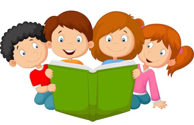 漫画の子供の読書 Premiumベクター