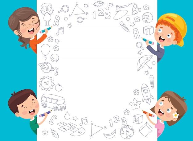 Cartoon kids with a frame Premium Vector