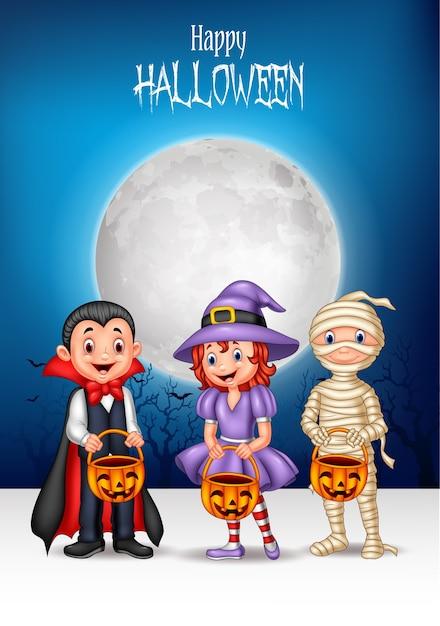 Cartoon kids with halloween costume holding pumpkin basket Premium Vector