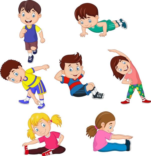 Cartoon kids yoga with different yoga poses | Premium Vector