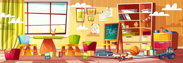 Cartoon kindergarten for children, playground with window. Free Vector
