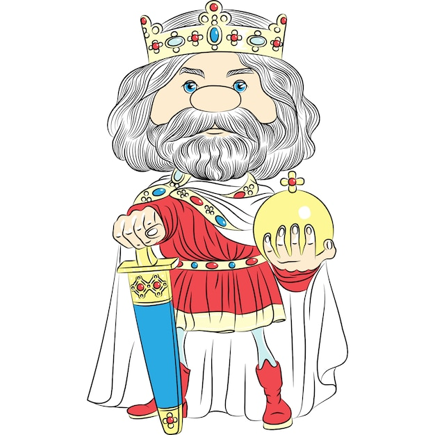 Premium Vector Cartoon King Charles The First In The Crown With The Sword And Globus Cruciger Gold king crown flat cartoon royalty free vector image. https www freepik com profile preagreement getstarted 9446080