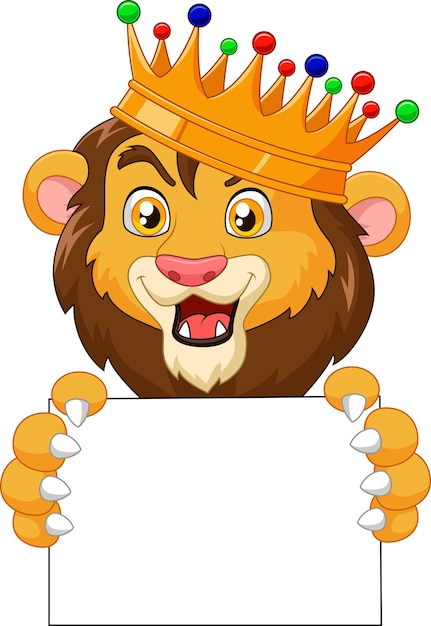 Premium Vector Cartoon King Lion Holding Blank Sign Kion, the son of simba, leads his friends known as the lion guard to protect the pride lands. https www freepik com profile preagreement getstarted 3103440