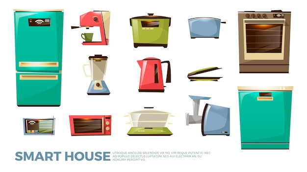 Cartoon kitchen modern electric appliances set. household cooking equipment Free Vector