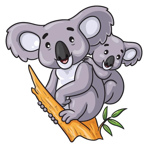 Мультяшная коала и малыш Premium векторы