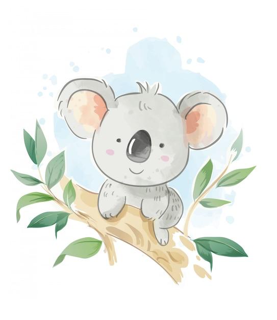Cartoon koala sitting on the tree branch illustration Premium Vector