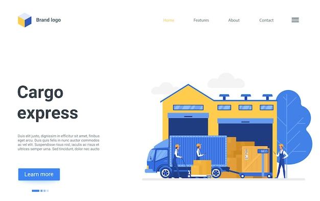 Cartoon landing page design, website for warehousing business company illustration Premium Vector