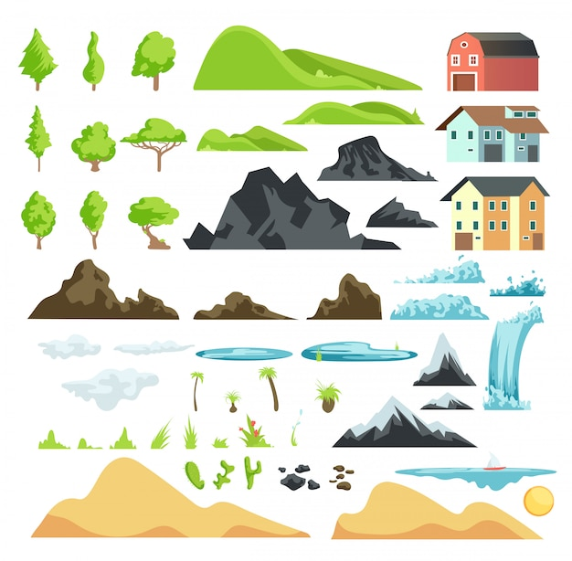 Cartoon landscape vector elements with mountains, hills, tropical trees and buildings Premium Vector
