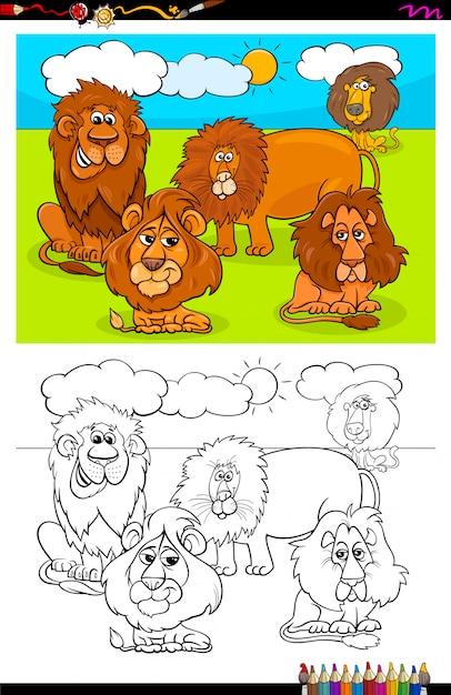 Cartoon of lions animals coloring book Premium Vector