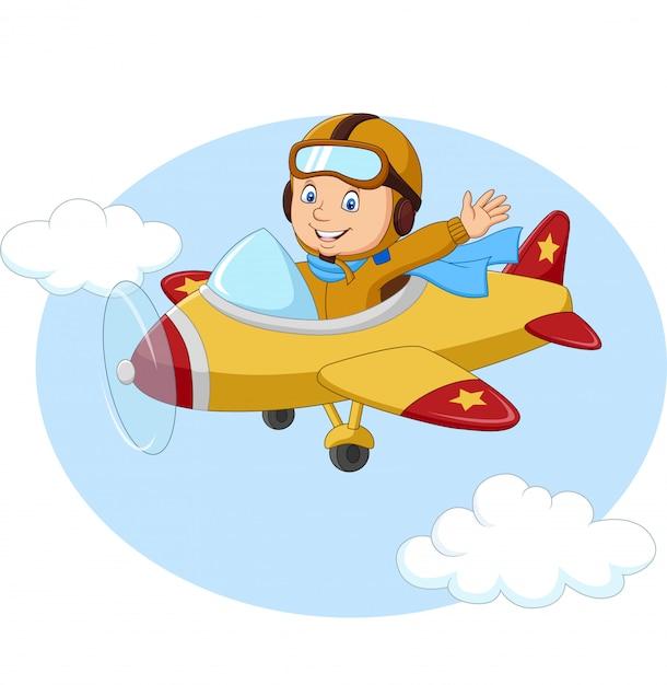 Cartoon Little Boy Operating A Plane Premium Vector