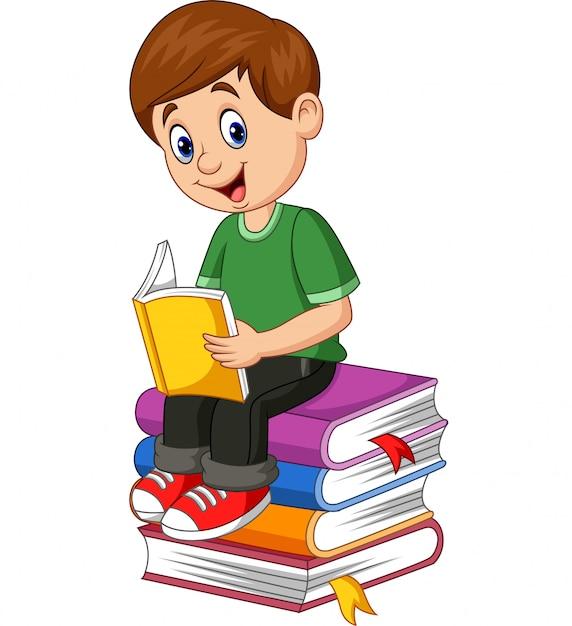 Cartoon little boy reading book Vector | Premium Download