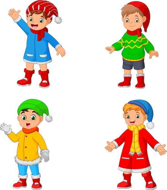 漫画の冬の服を着ている少年 Premiumベクター