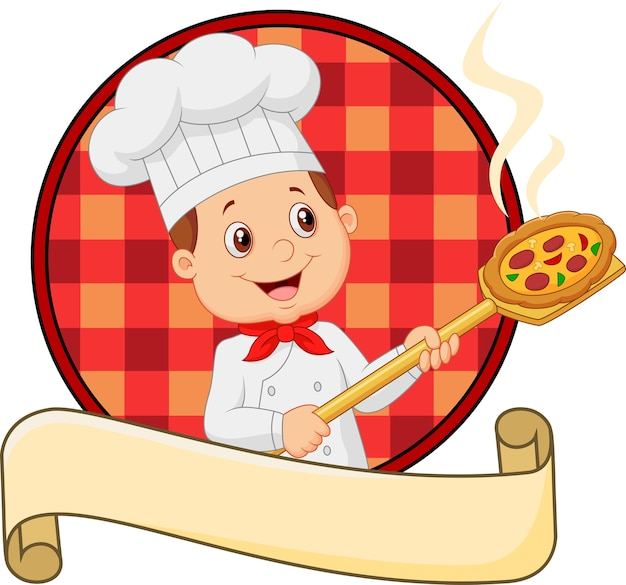 Cartoon little chef holding tool with bread bakery peel Premium Vector