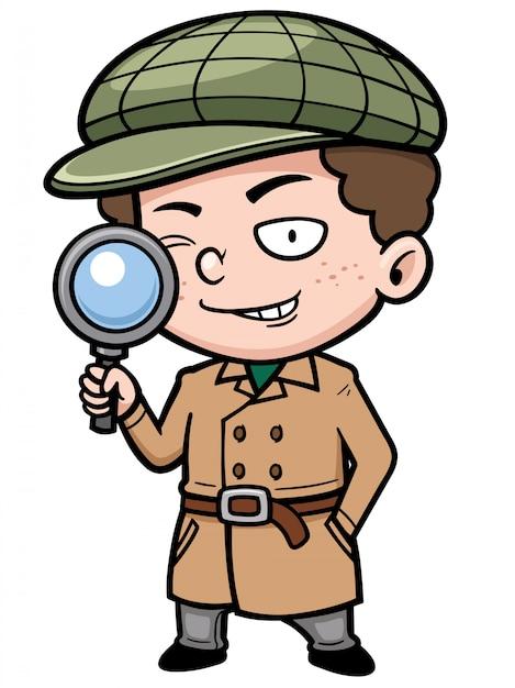 Cartoon little detective Premium Vector