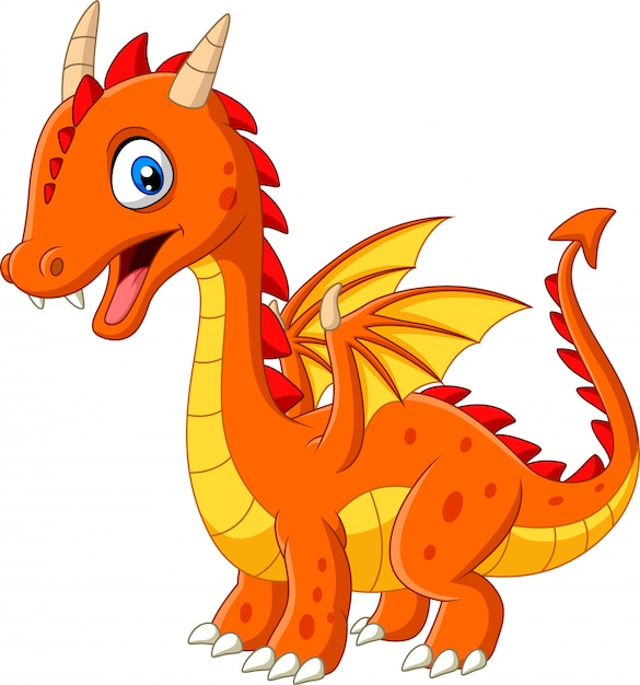 Cartoon little dragon isolated on white background Premium Vector