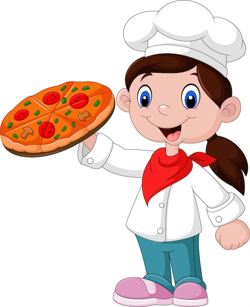 Cartoon little girl holding pizza Premium Vector