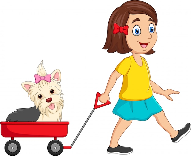 Cartoon little girl pulling wagon with puppy Premium Vector