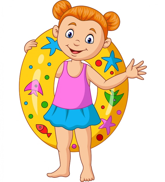 Cartoon little girl with inflatable ring Premium Vector