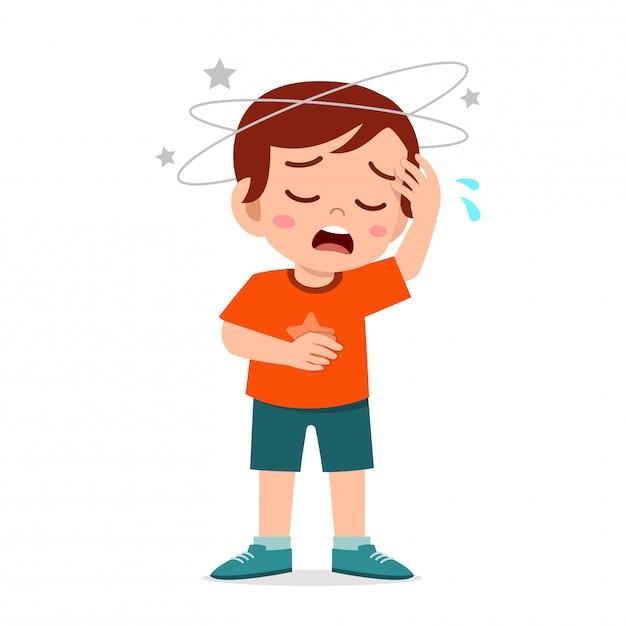 Premium Vector | Cartoon little kid boy get bad headache