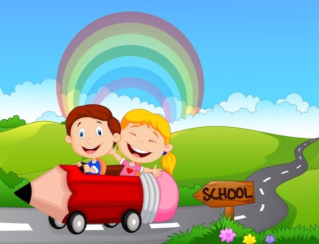 Cartoon little kid go to school Premium Vector