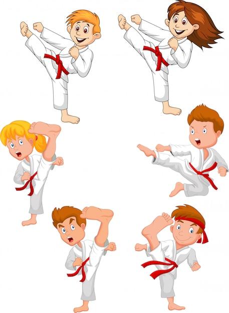 Cartoon little kid training karate collection Premium Vector