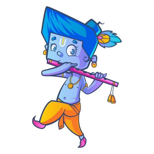 Cartoon of little lord krishna with flute  Vector   Premium