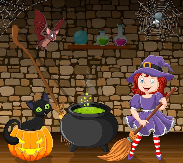 Cartoon little witch holding a broomstick in the room Premium Vector
