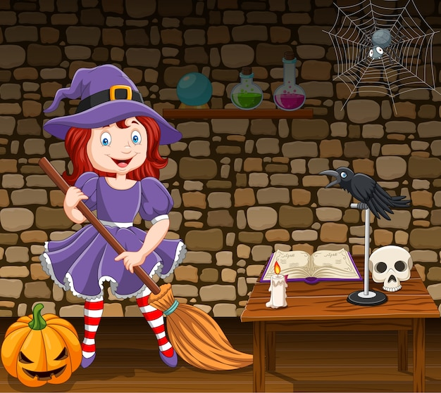 Cartoon little witch holding a broomstick Premium Vector