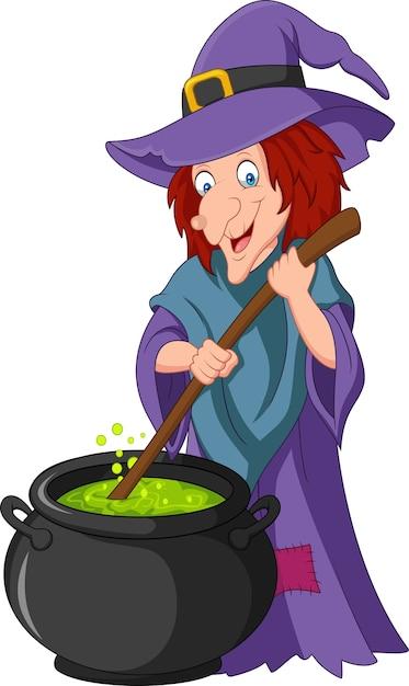 Cartoon little witch preparing potion Premium Vector