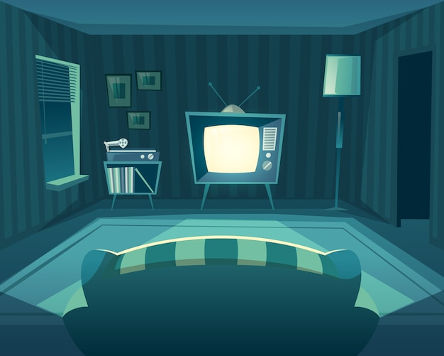 Cartoon living room at night. front view from sofa to tv set, vinyl player. Free Vector
