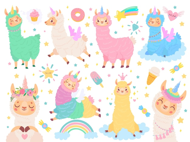 Cartoon llama unicorn Free Vector