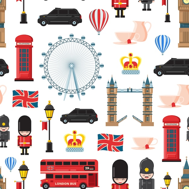 Cartoon london sights and objects Premium Vector