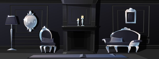 Cartoon luxury living room Free Vector