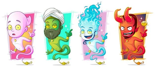 Cartoon magic jinns with lamp character set Premium Vector