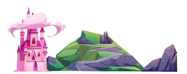 漫画の魔法のピンクの城と緑の丘 無料ベクター