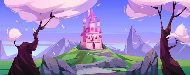 Мультфильм волшебный розовый замок в горах Бесплатные векторы