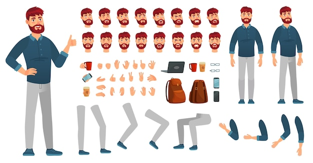 Cartoon male character kit. man in casual clothing, different hands, legs poses and facial emotion. characters constructor, hipster or creative businessman guy poses. isolated vector icons set Premium Vector
