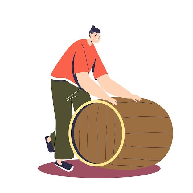 Мультяшный мужской персонаж катит деревянную бочку со свежесваренным пивом Premium векторы