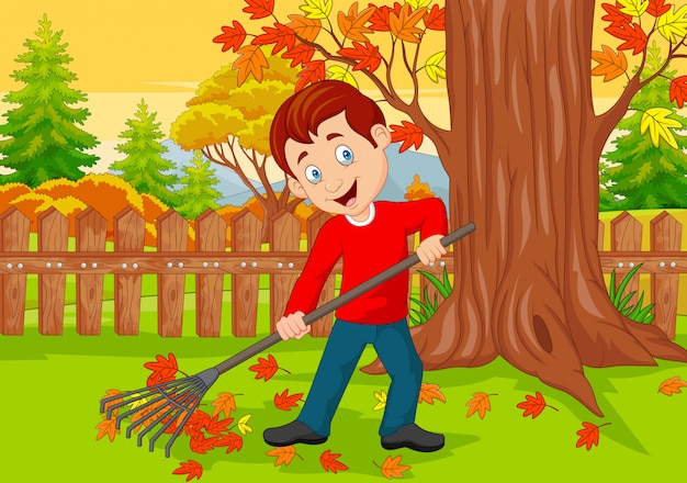 Cartoon male cleaner sweeping autumn leaves with rake Premium Vector