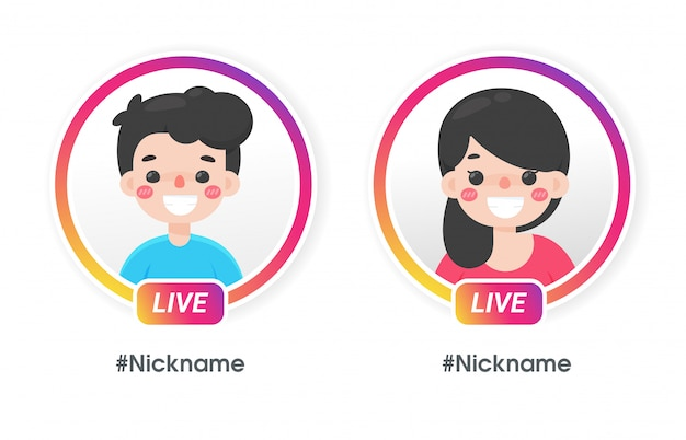 Cartoon Male And Female With Gradient Circle Profile Frame For Live Streaming On Social Media Premium Vector