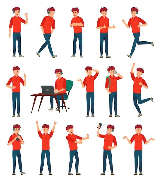 Мультяшный персонаж-подросток. подросток в разных позах и действиях Бесплатные векторы